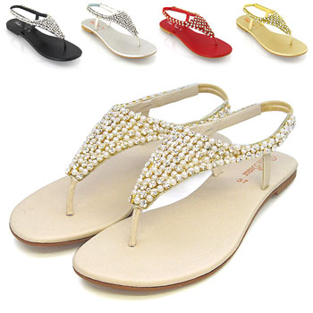 027d5a6d9 Womens Flat Sandals Diamante Pearl Ladies Slingback Holiday Casual Party  Shoes