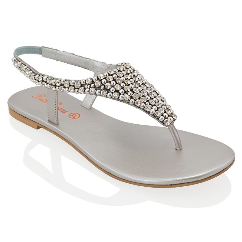 Ladies Flat Toe Post Womens Diamante Pearl Holiday Dressy ...