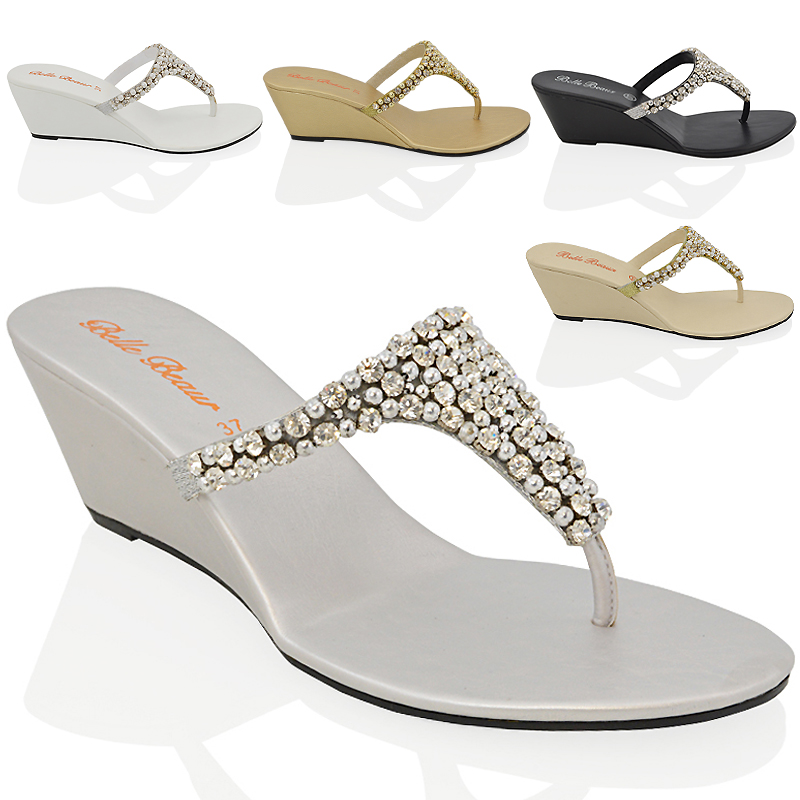 About 9 Dressy Party Womens Heel Diamante Post Details Low 3 Ladies Sparkly Toe Sandals Wedge Nnyv0Pw8mO