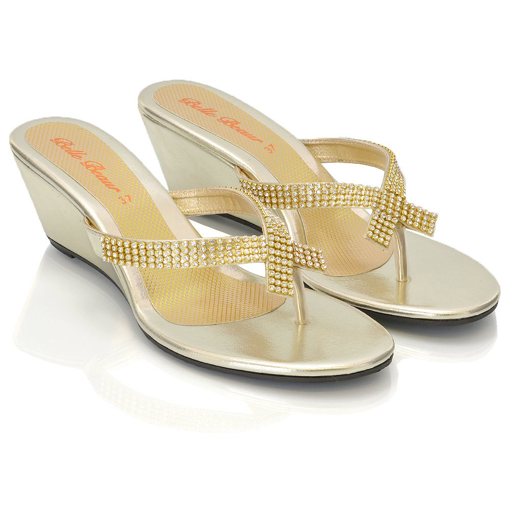 4857ddd895f51 Details about Womens Wedge Heel Flip Flops Sandals Diamante Sparkly Ladies  Toe Post Shoes 3-9