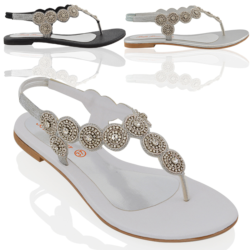 e5ce2e6f94f975 WOMENS SLINGBACK FLAT DIAMANTE LADIES SPARKLY SUMMER HOLIDAYS SANDALS SHOES  3-9