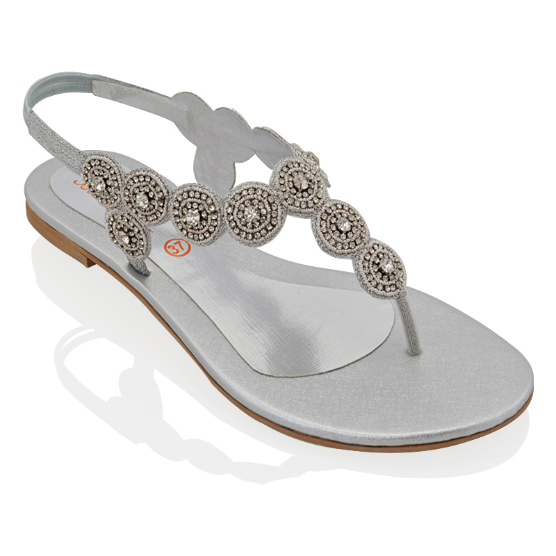 dd69dead9862 WOMENS SLINGBACK FLAT DIAMANTE LADIES SPARKLY SUMMER HOLIDAYS SANDALS SHOES  3-9