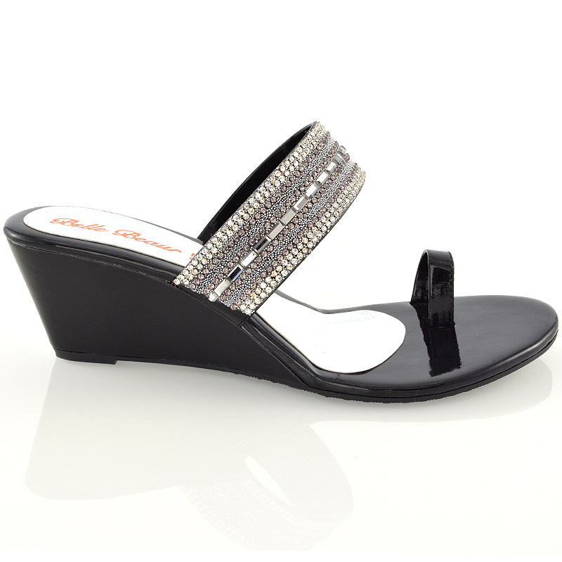 585962a8bd32f Ladies Wedge Heel Toe Post Diamante Silver Black Womens Party ...