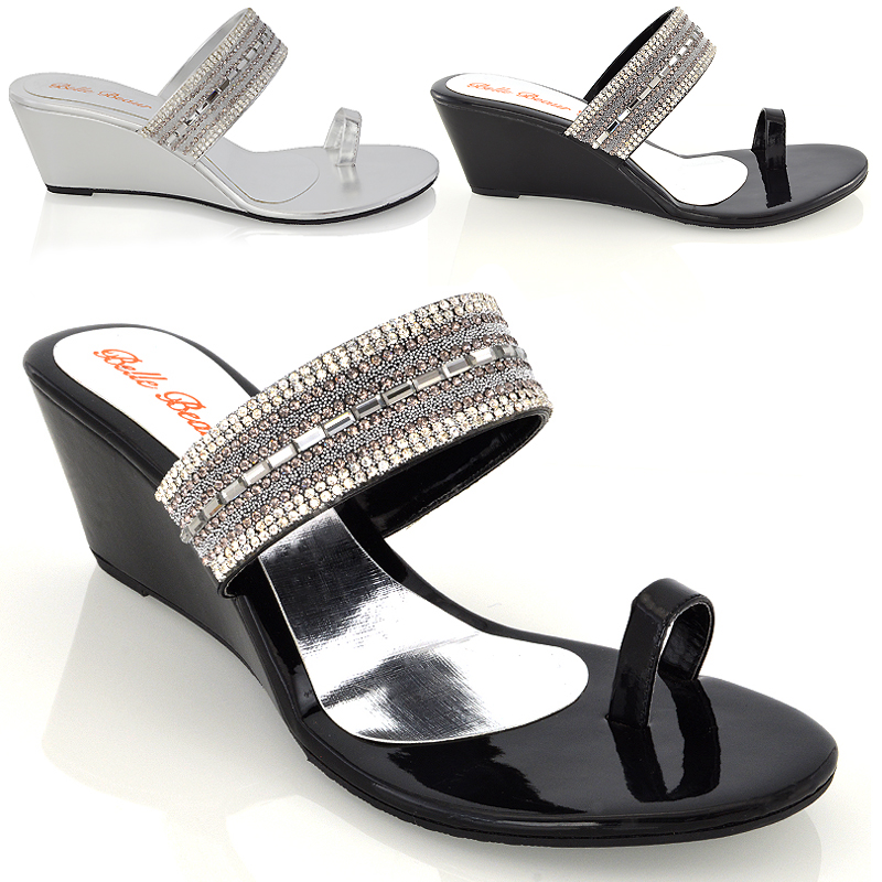 Details about LADIES WEDGE HEEL TOE POST DIAMANTE SILVER BLACK WOMENS PARTY SANDALS SHOES SIZE