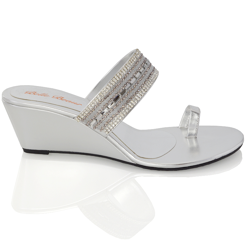 LADIES WEDGE HEEL TOE POST DIAMANTE SILVER BLACK WOMENS