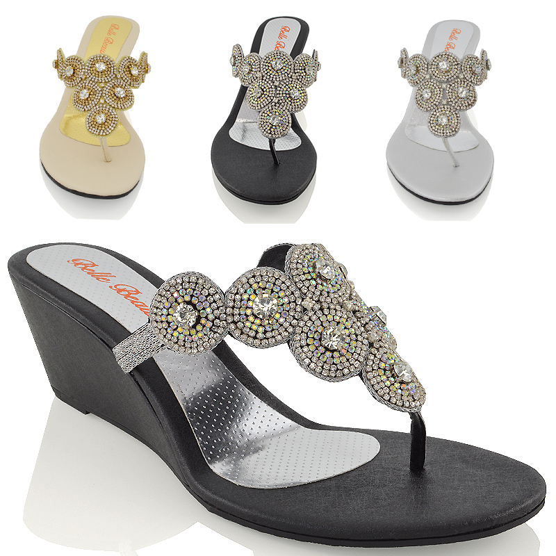 b0023689526e WOMENS DIAMANTE WEDGE HEEL TOE POST SPARKLY SMART PARTY SANDAL SHOES SIZE  3-9