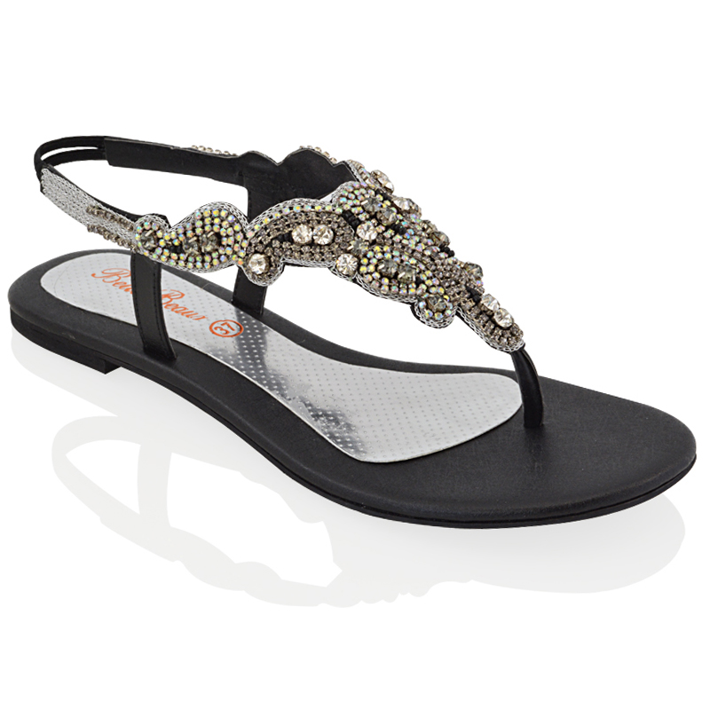 LADIES FLAT DIAMANTE TOE POST WOMENS SLINGBACK SPARKLY ...