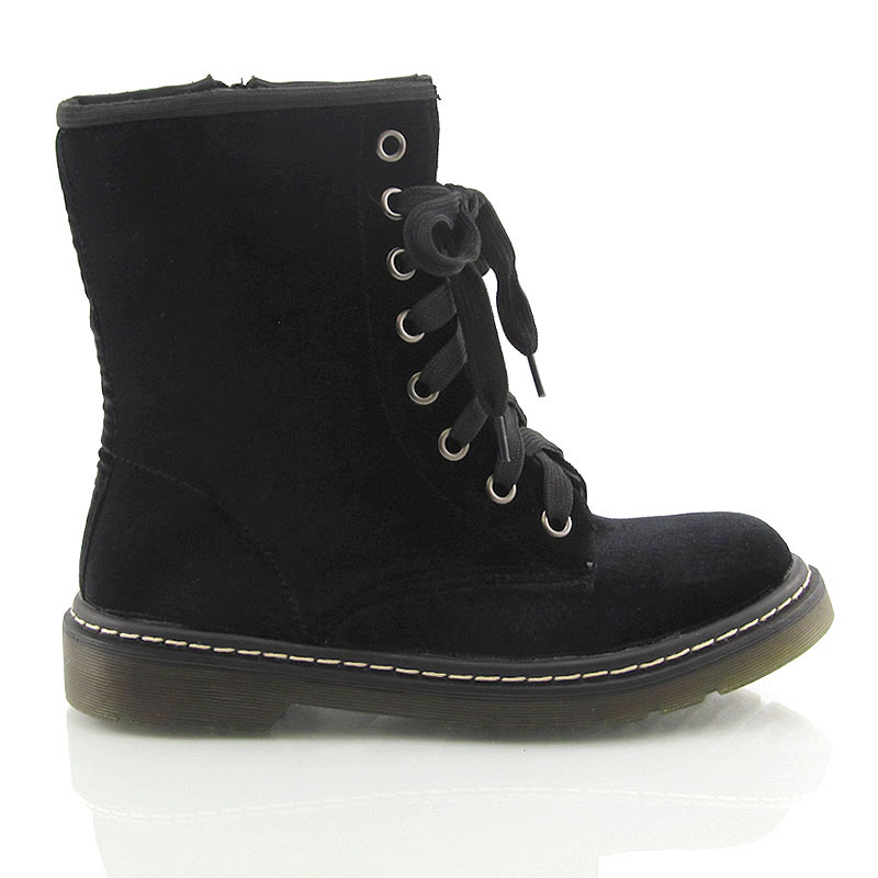 WOMENS LACE UP LADIES VELVET VINTAGE RETRO COMBAT GOTH PUNK ANKLE ...