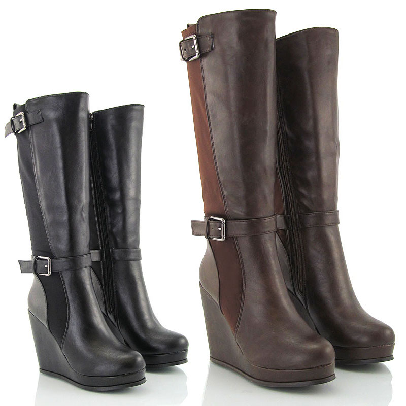 LADIES WEDGE HEEL STRETCH CALF WOMENS ELASTIC KNEE HIGH RIDING