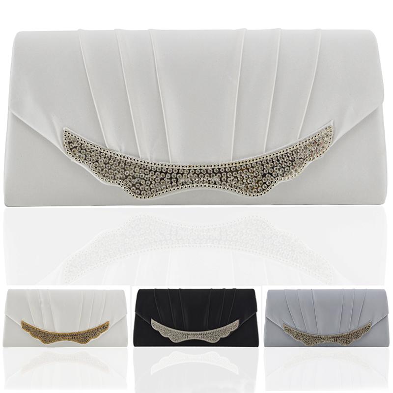 Womens Satin Clucth Bag Bridal Ladies Diamante Evening Classy Crystal Wedding UK