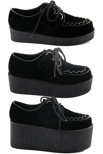 new womens black platform lace up ladies flats creepers