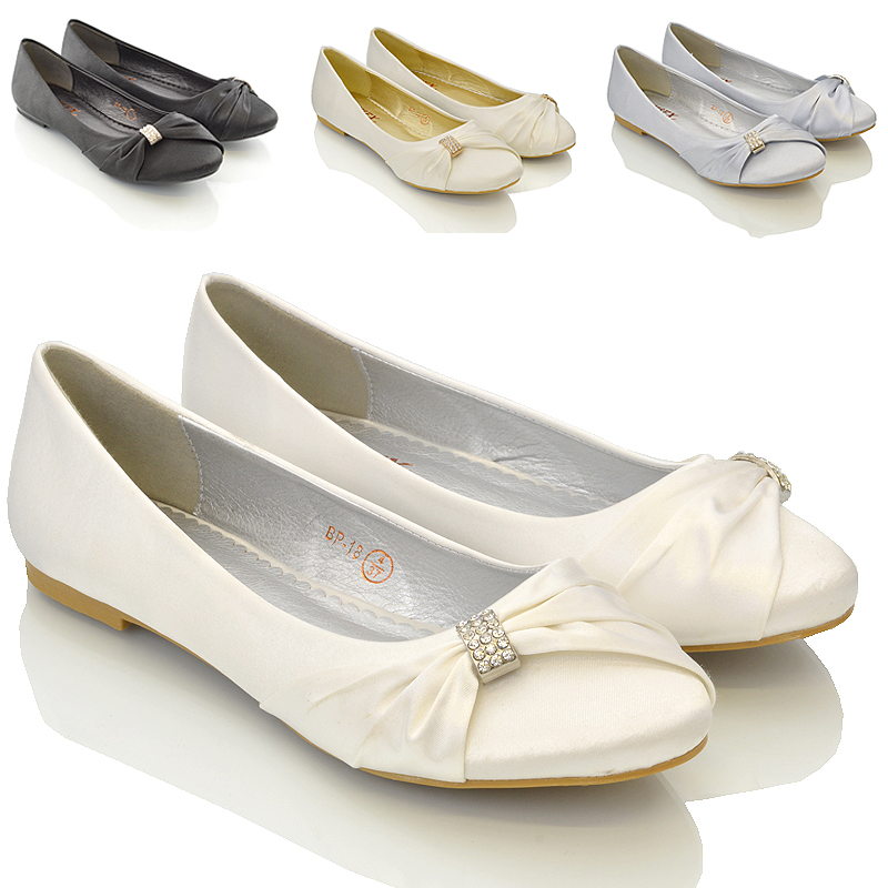 WOMENS BRIDAL WEDDING SATIN PUMPS LADIES SLIP ON PROM ...
