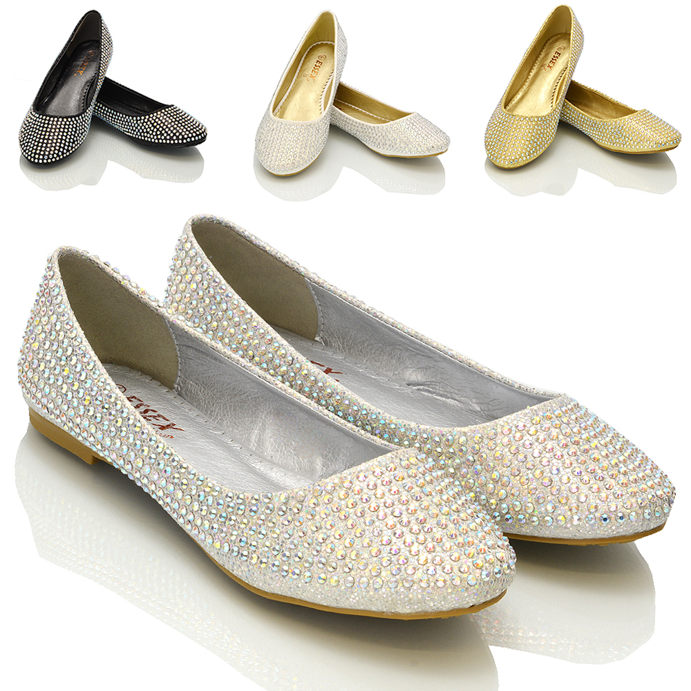 Womens Bridal Flats Ladies Sparkly Diamante Bridesmaid