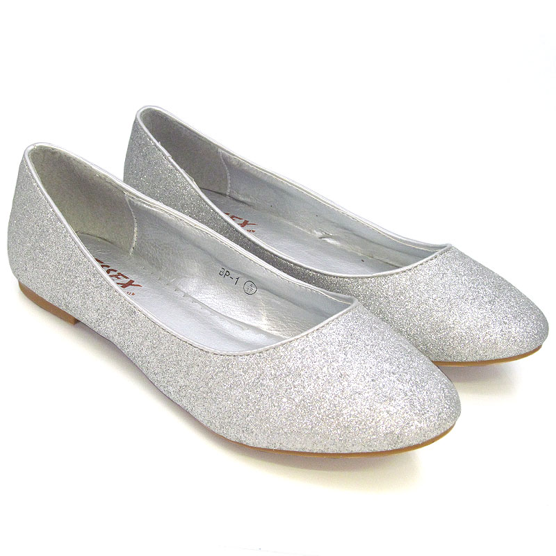 NEW WOMENS FLAT PUMPS LADIES GLITTER BALLET BALLERINA ...