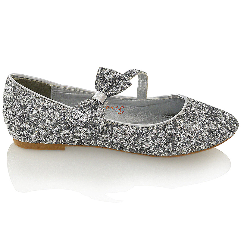 NEW WOMENS PUMPS FLAT BOW GLITTER LADIES BALLET BALLERINA DOLLY BRIDAL SHOES