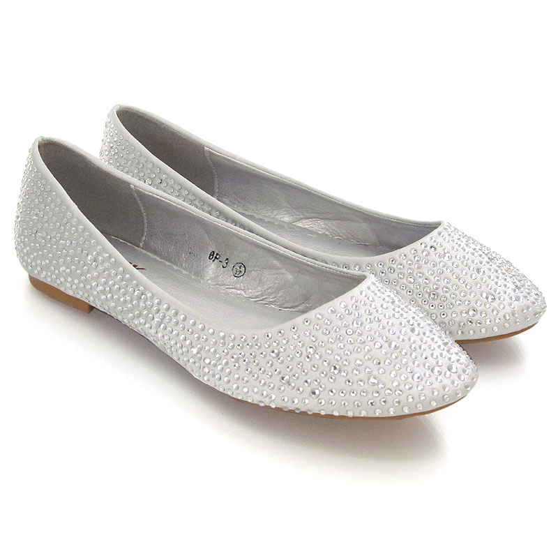 2d5cb9e10687 Womens Brial Diamante Shoes Ladies Sparkly Slip On Bridesmaid Pumps Size  3-9