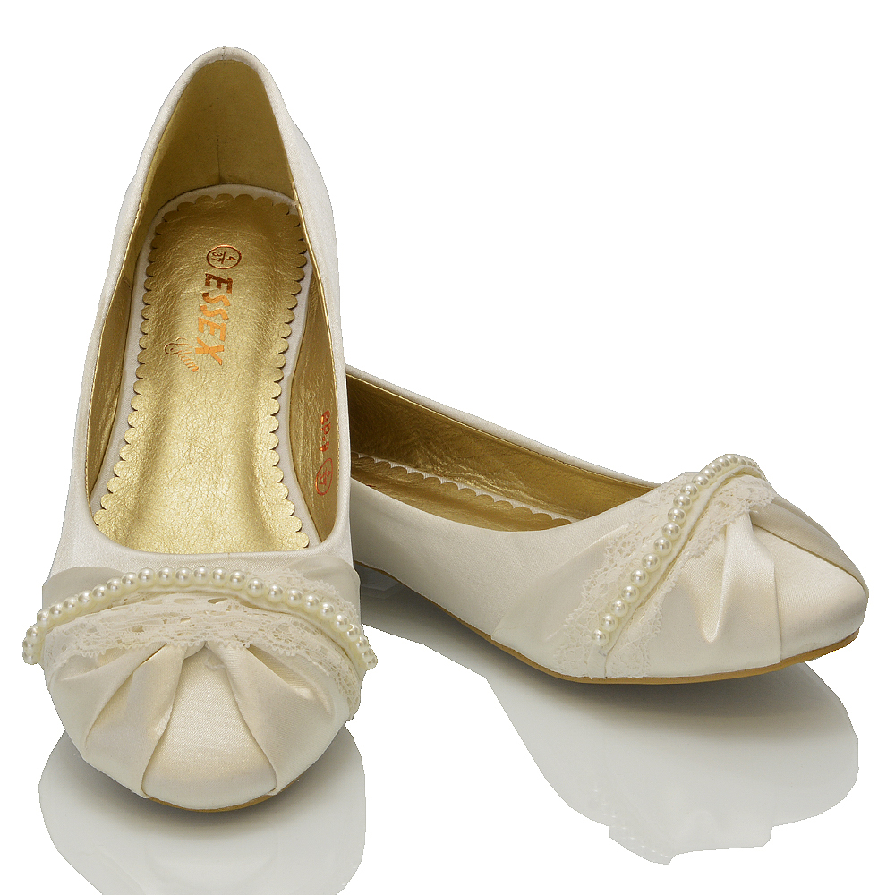 Ivory Pearl Flat Shoes