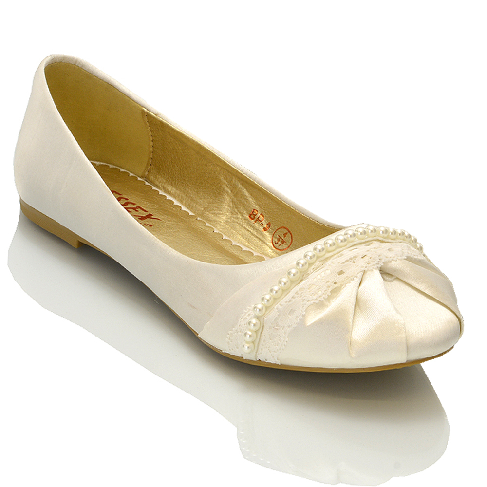 pearl wedding shoes womens bridal shoes ballerina lace pearl bridesmaid 6428