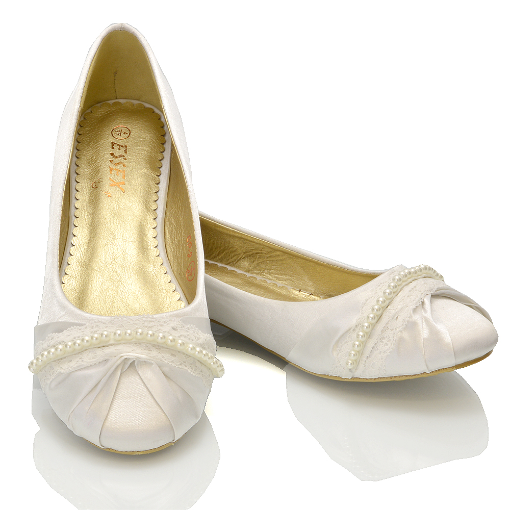 NEW WOMENS LACE PEARL WEDDING BRIDAL IVORY WHITE BALLERINA FLAT PUMPS SHOES SIZE