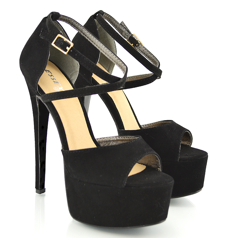 Womens Strappy Platform Peep Toe Stiletto Sandal Ladies High Heel ...