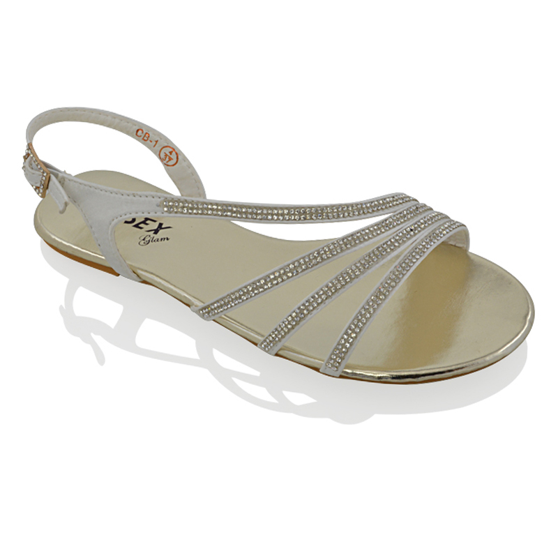womens flat diamante strappy sandals sparkly bridal