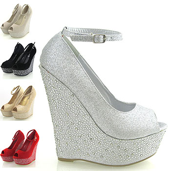 Details about NEW WOMENS PLATFORM ANKLE STRAP WEDGE LADIES DIAMANTE