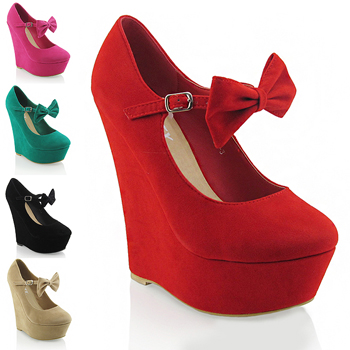 NEW WOMENS PLATFORM MARY JANE BOW LADIES PARTY PROM HIGH HEEL ...