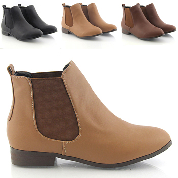 Womens Chelsea Boots Low Heel Elasticated Round Toe Slip On Ankle Boots