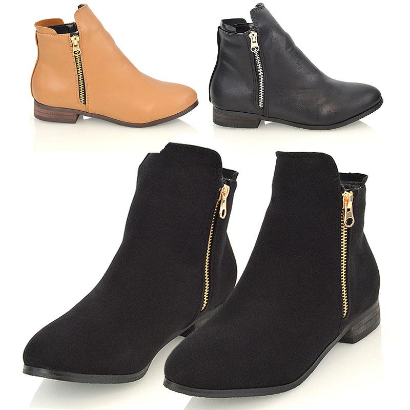 Womens Ladies Low Block Heel Lace Zip Up Biker Chelsea Ankle Boots Shoes Size