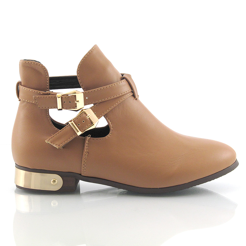 WOMENS LADIES FLAT LOW HEEL BUCKLE CUT OUT CHELSEA ANKLE BOOTS ...