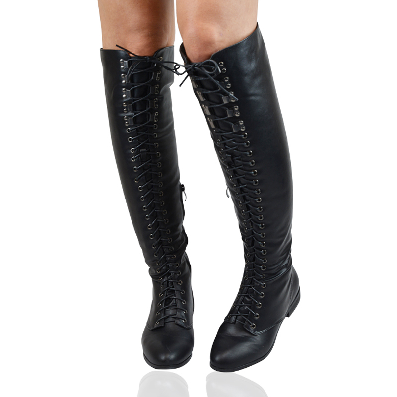 lace up thigh high flat womens the knee high