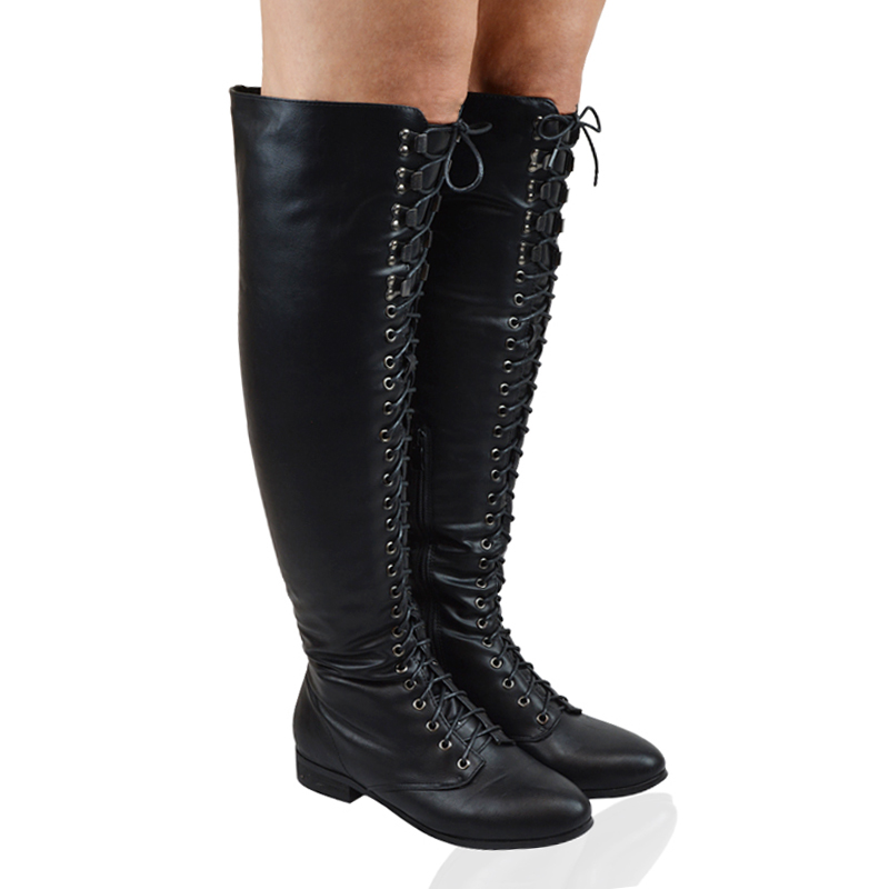 Ladies Lace Up Thigh High Flat Womens Over The Knee High