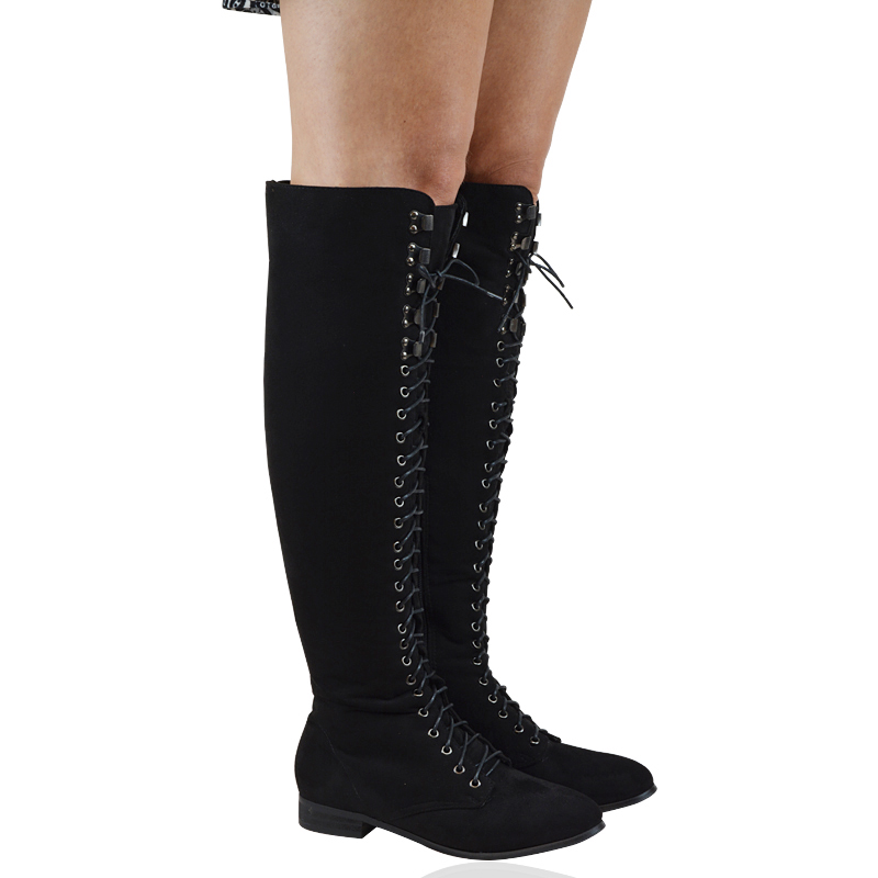b7b490ef3289 Womens Lace Up Combat Knee High Ladies Flat Riding Biker Boots Size 3-8