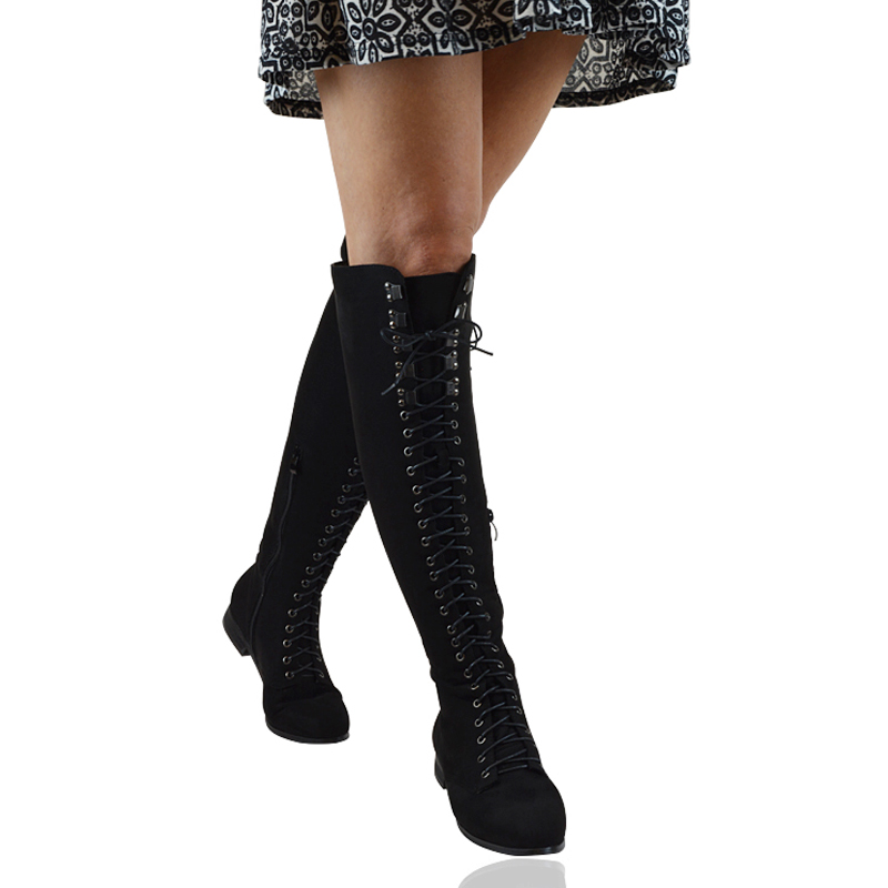 Womens Lace Up Combat Over The Knee High Ladies Flat