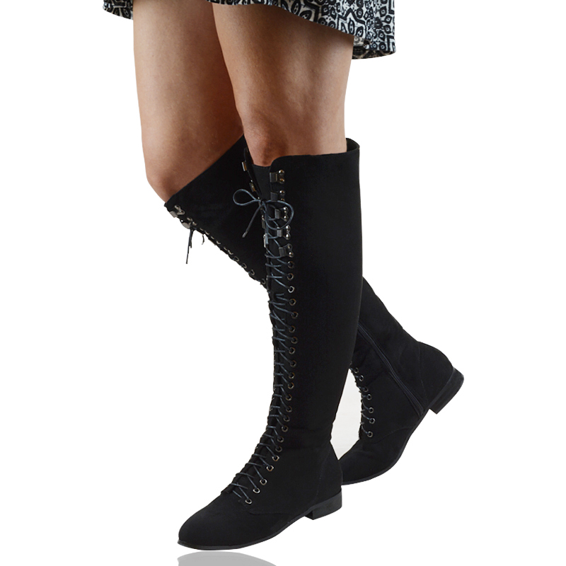 Flat Lace Up Knee High Boots
