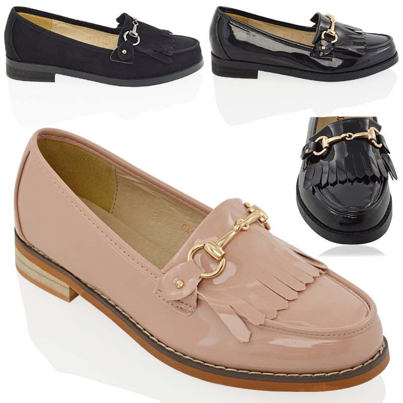 womens flat loafers casual fringe black buckle work