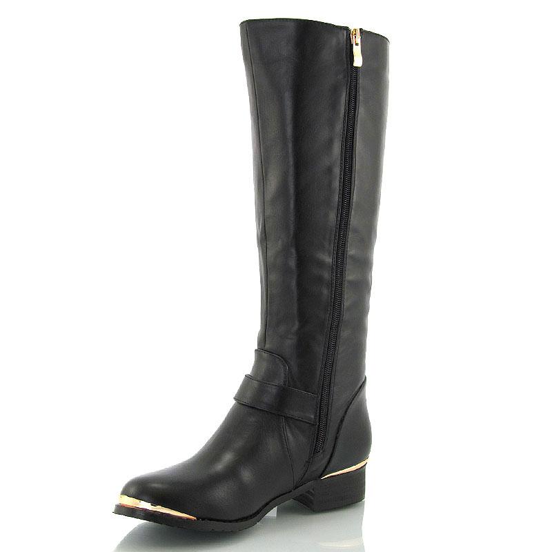 knee high flat low heel gold trim buckle womens