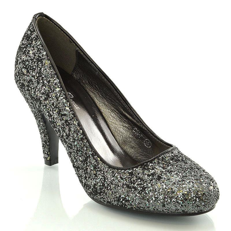 Womens Glitter Shoes Bridal Slip On Low Heel Ladies ...