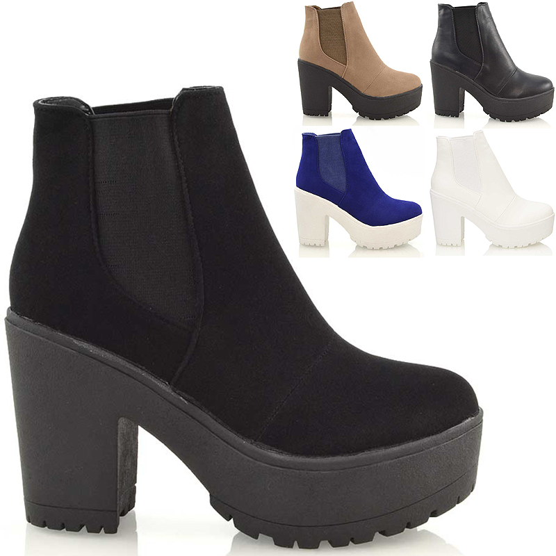 Ladies Chunky Cleated Sole Platform Womens Block Heel Biker ...