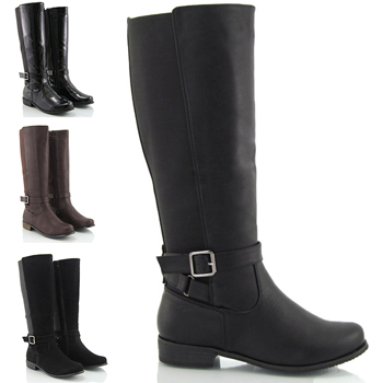 Womens High Boots Flat Low Heel Elasticated Zip Riding Knee Wide ...