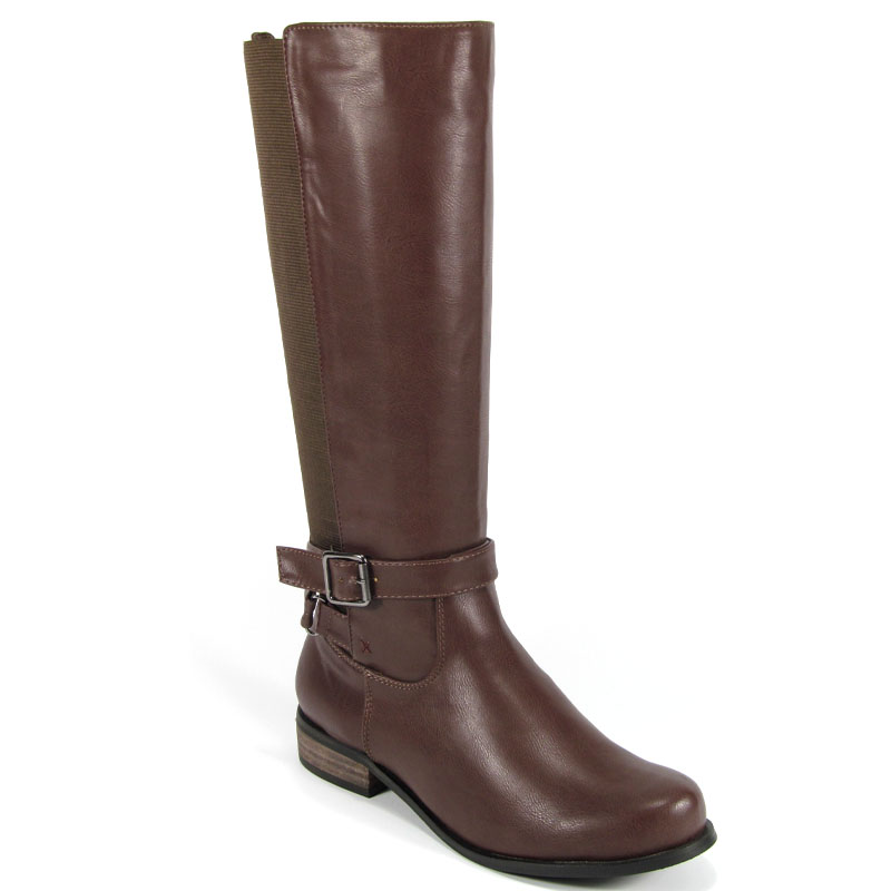 knee high womens zip wide stretch calf buckle low