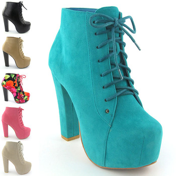 NEW WOMENS ANKLE BOOTS LADIES LACE UP CONCEALED PLATFORM BLOCK