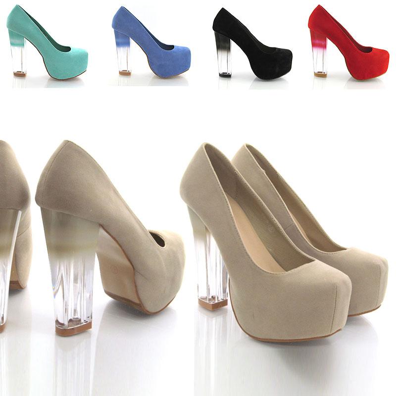 NEW WOMENS COURT SHOES LADIES LACE UP CONCEALED PLATFORM BLOCK,ALOPTGP545,Perspex Heel concealed platform court shoes