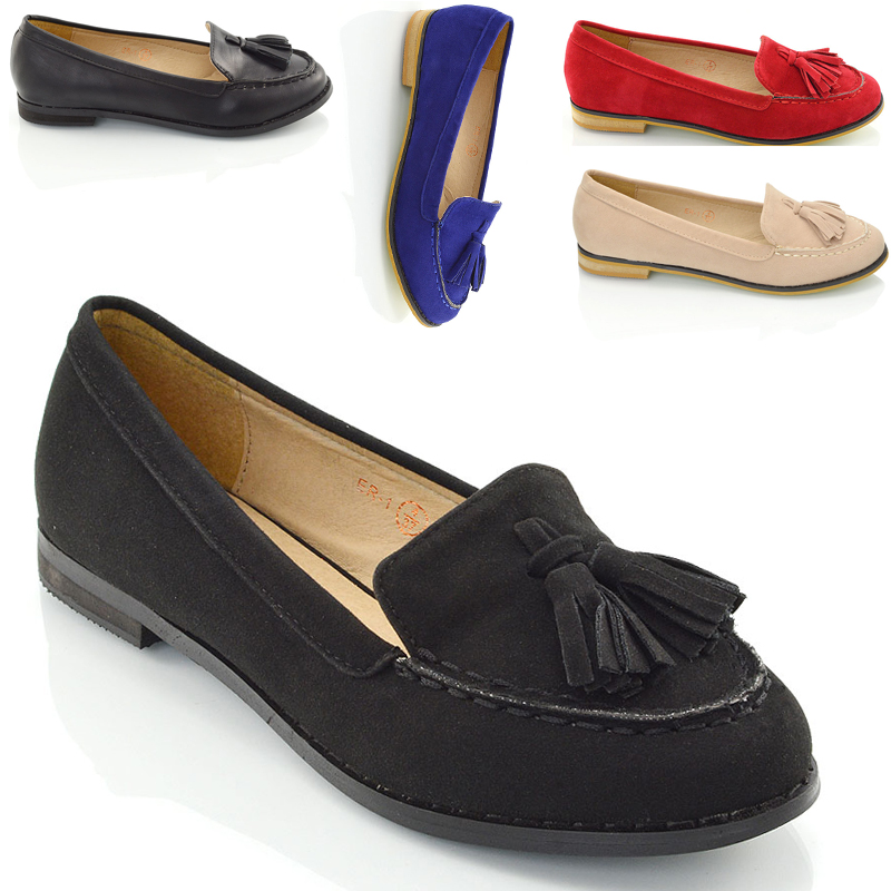 Ladies Tassel Loafers Women's Casual Vintage Flats Work Office School Shoes