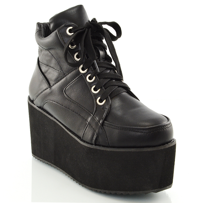 Womens Chunky High Platform Wedge Heel Lace Up Chelsea Punk Ladies ...