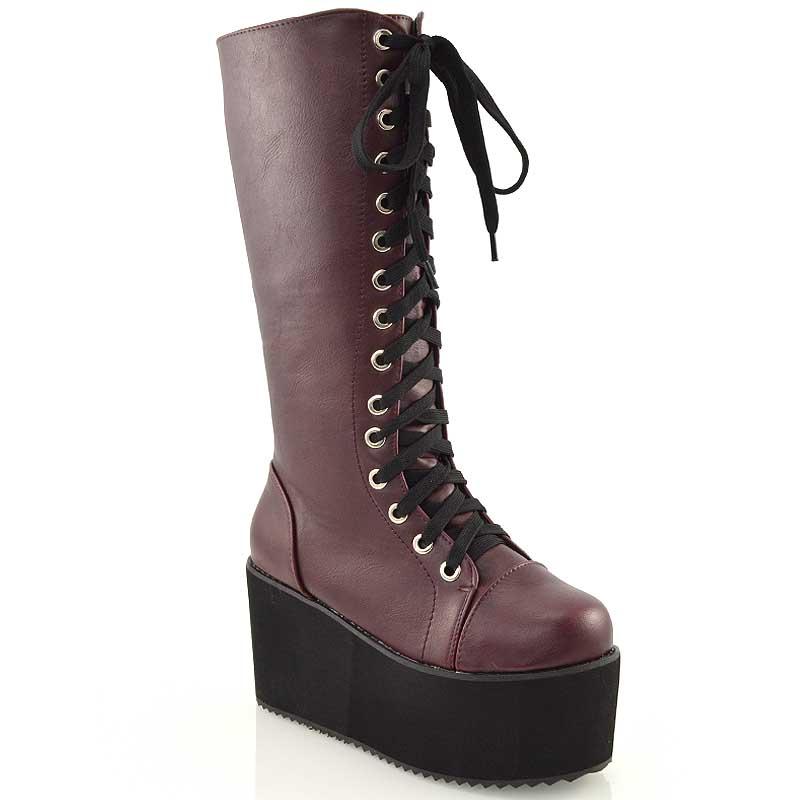 knee high wedge heel platform womens lace