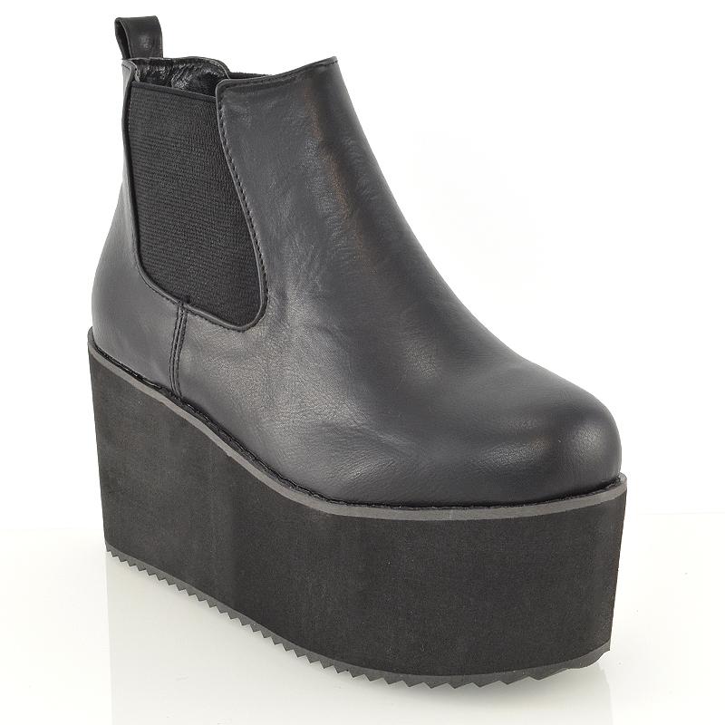womens chunky high platform wedge heel lace up chelsea