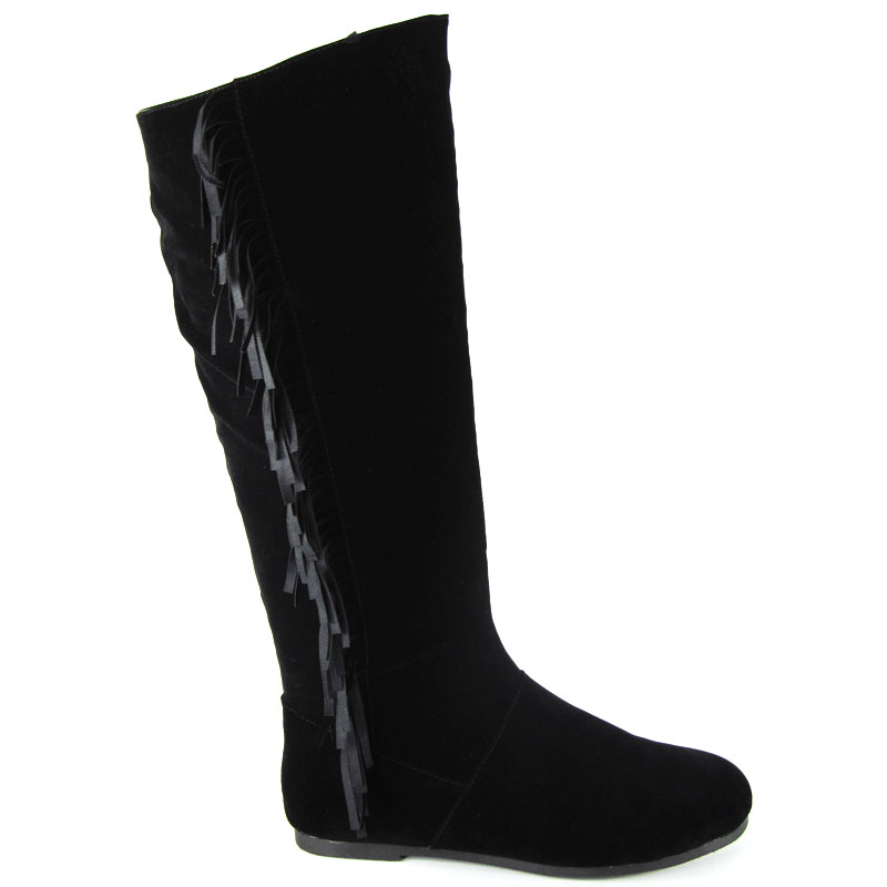 LADIES TASSEL BLACK KNEE HIGH WOMENS TAN FLAT FRINGE WINTER LOW HEEL BOOTS 3-8