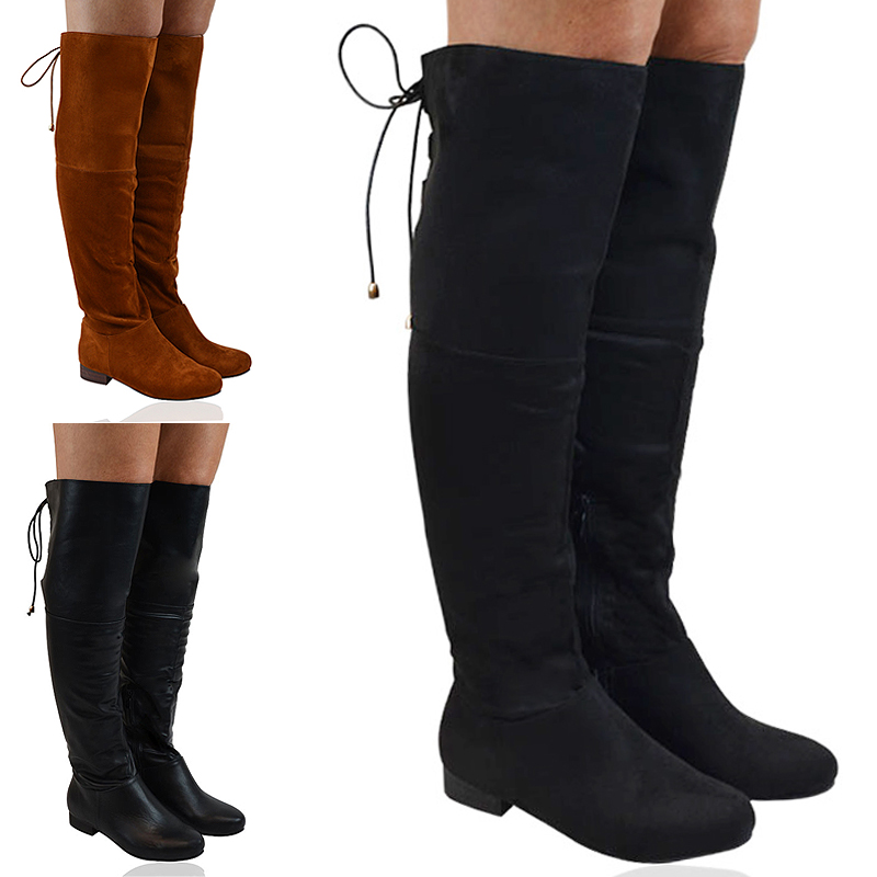 4a598b75bf3 Details about New Womens Thigh High Boots Ladies Flat Riding Biker Over Knee  High Shoes 3-8