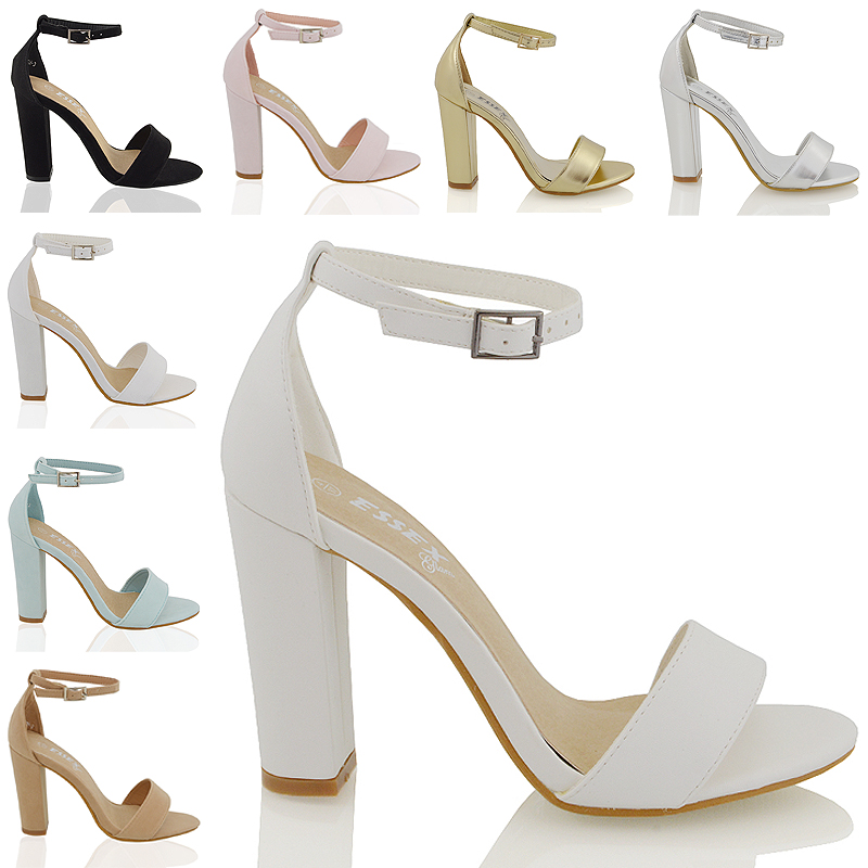 66c997b7013 Womens Ankle Strap Sandals Block Mid High Heel Ladies Peep Toe Party Prom  Shoes